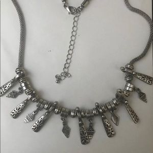 Tribal Necklace Ethnic Silver tone